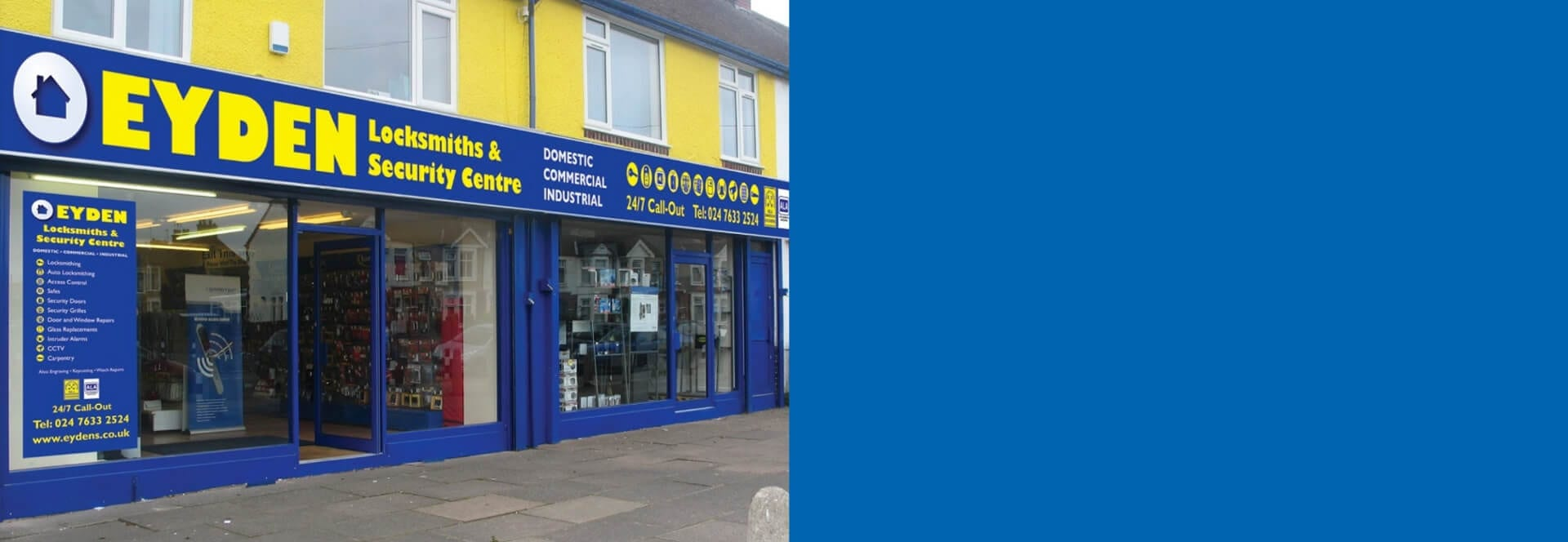 Shop front picture of Eyden Locksmith and security centre in Coventry SLIDER 2 1