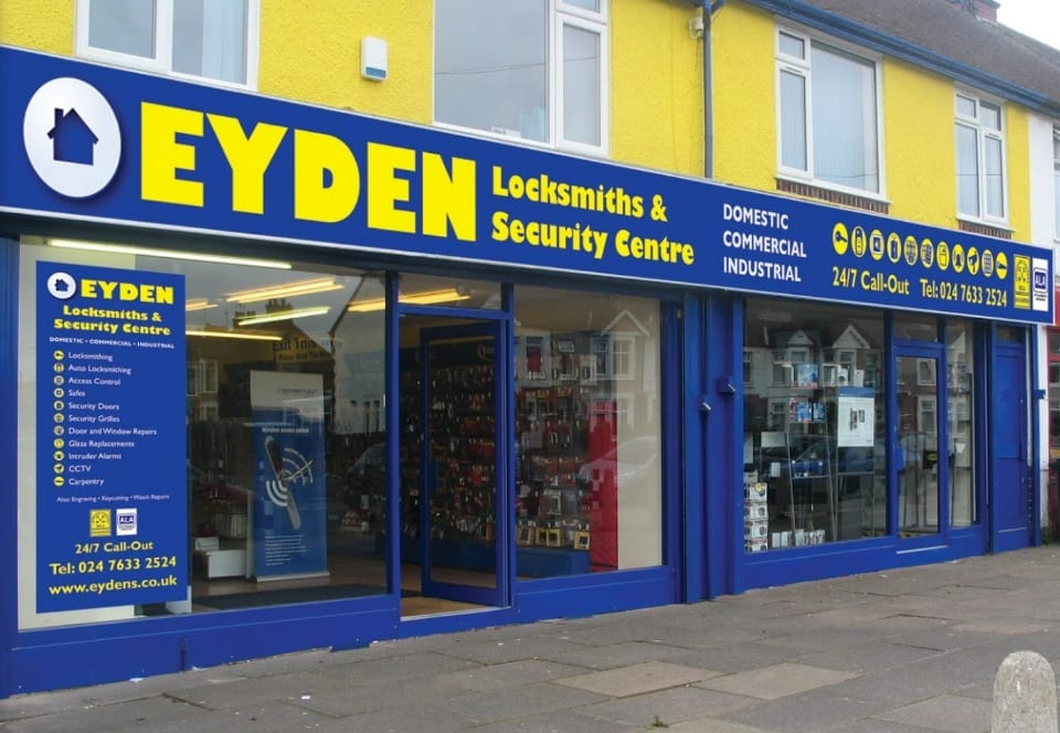 Shop front picture of Eyden Locksmith and security centre in Coventry