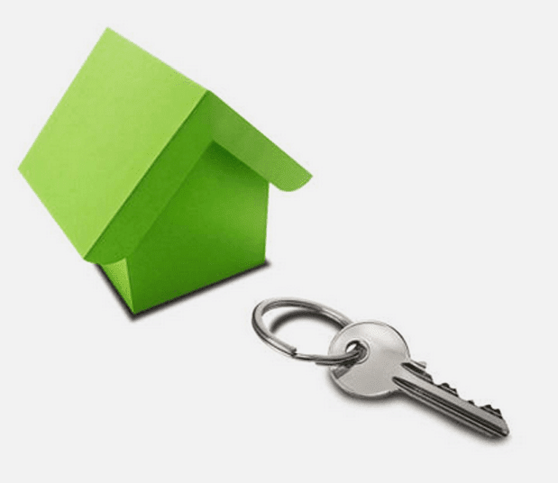 Lock upgrades section image - render of house and key